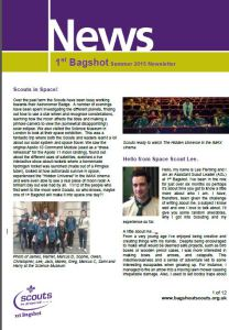 Front page of 2015 Summer Newsletter