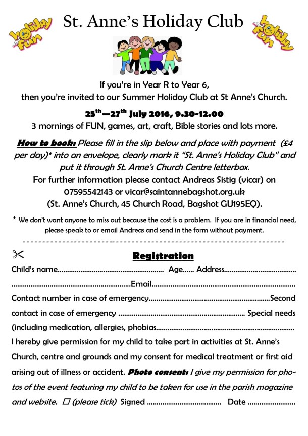 St.Anne's Holiday Club 2016 flyer
